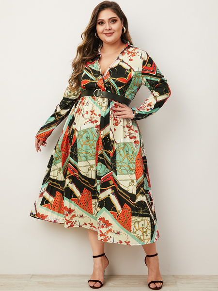 Yoins Plus Size Multicolor Pleated Scarf Print Deep V Neck Dress