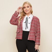 Plus Open Front Plaid Tweed Jacket