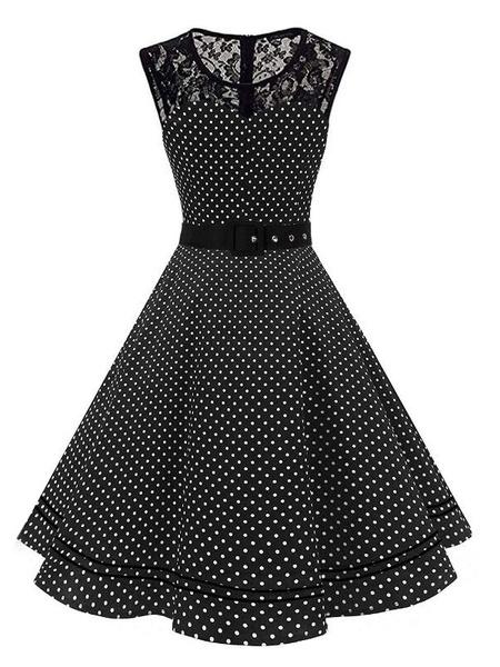Milanoo Vestido vintage Vestido de rockabilly sin mangas con cuello de joya para mujer, lunares blancos de los años 50