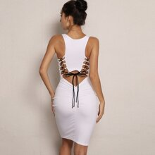 Lace-up Cut Out Back Ruched Tank Dress