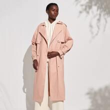 Baumwolle Mantel mit doppelten Knopfleisten und Guertel