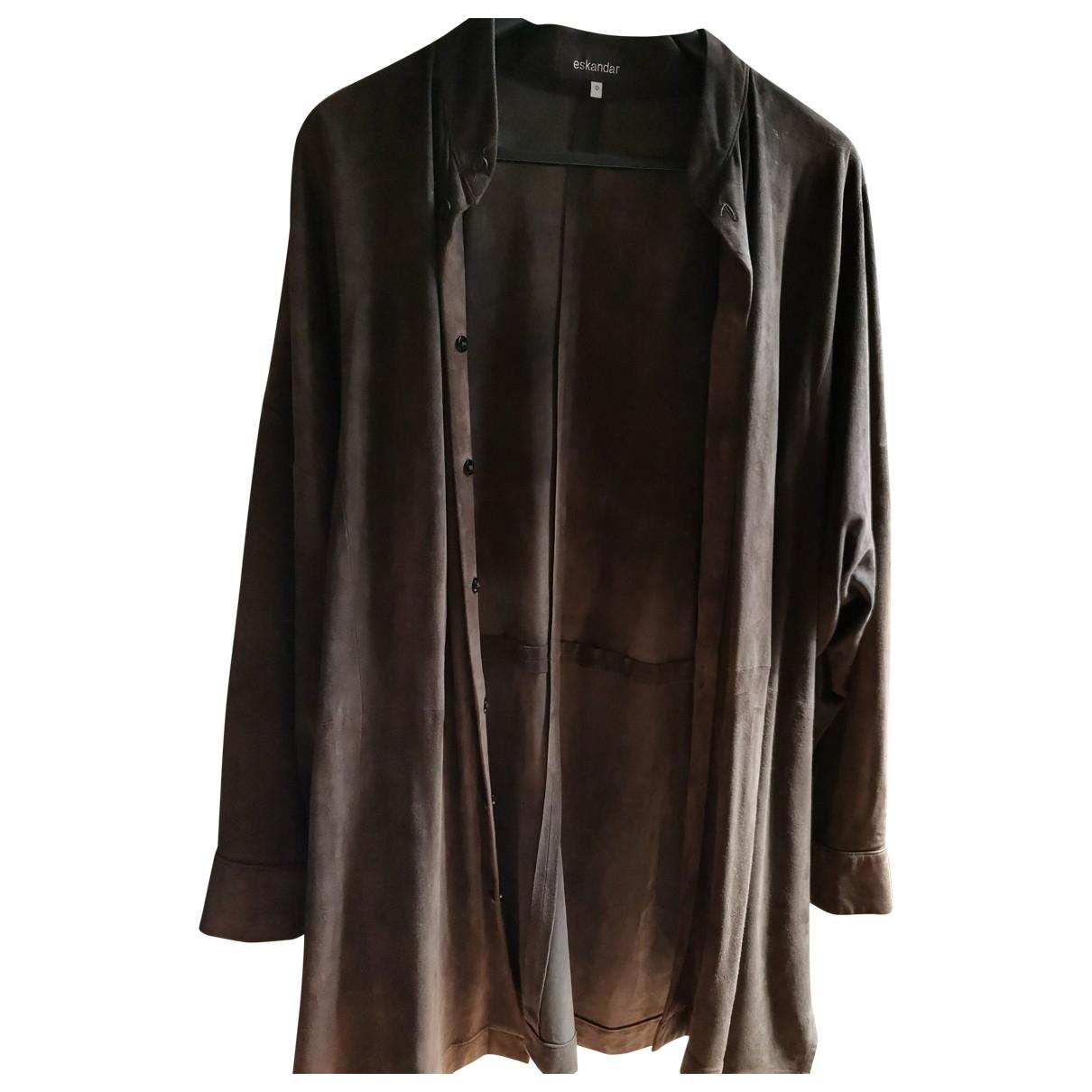 Eskandar - Manteau   pour femme en suede - marron