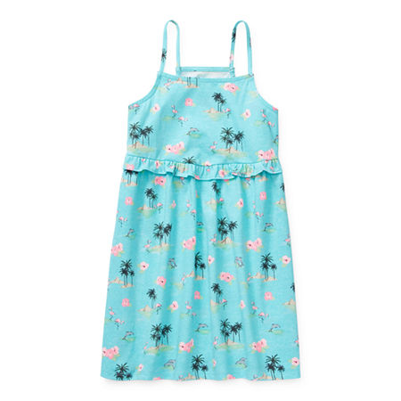 Arizona Little & Big Girls Sleeveless Floral A-Line Dress, Medium (10-12) , Green
