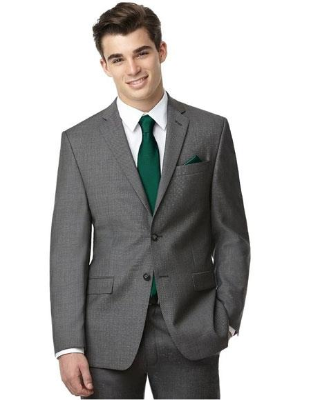 Mens 2button notch lapel side vented grey suit with green tie Slim Fit
