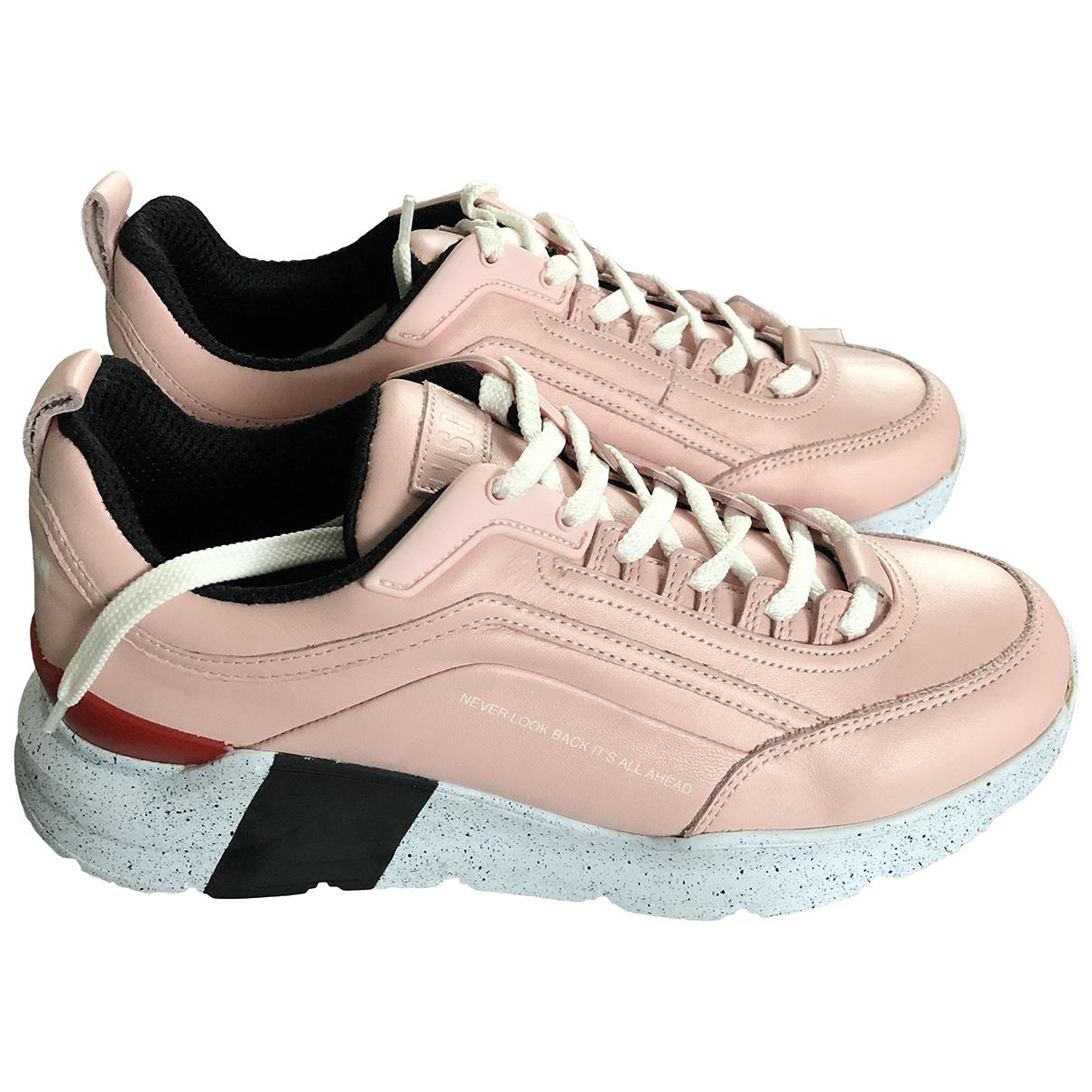 Msgm - Baskets   pour femme en cuir - rose