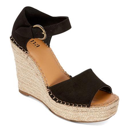a.n.a Womens Xyla Wedge Sandals, 11 Medium, Black