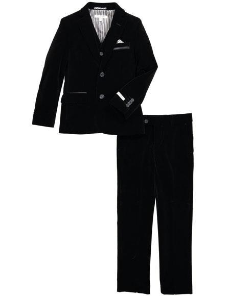 Mens Black Velvet Fabric Suit Jacket & Pants (no vest included)