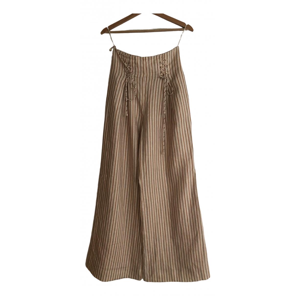 Zimmermann \N Beige Linen Trousers for Women 8 UK