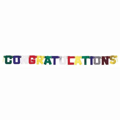 Deluxe Congratulations Jointed Banner for Home Party Decoration, 4ft