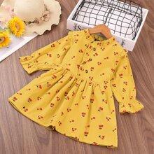 Toddler Girls Cherry Print Frill Trim Dress