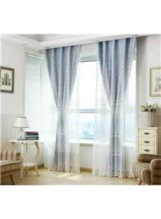 Sweet White Leaf Embroidery Sheer and Blue Cloth Sewing Together Curtain Sets