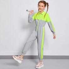 Girls Zipper Front Striped Side Colorblock Jumpsuit