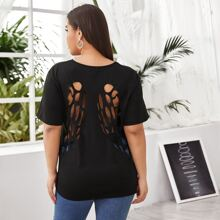 Plus Wing Hollow Out Back Tee