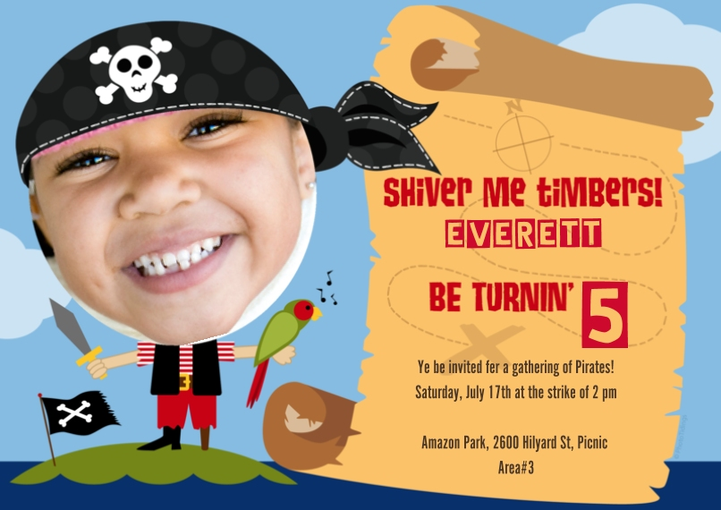 Kids Birthday Party Flat Glossy Photo Paper Cards with Envelopes, 5x7, Card & Stationery -Shiver Me Timbers