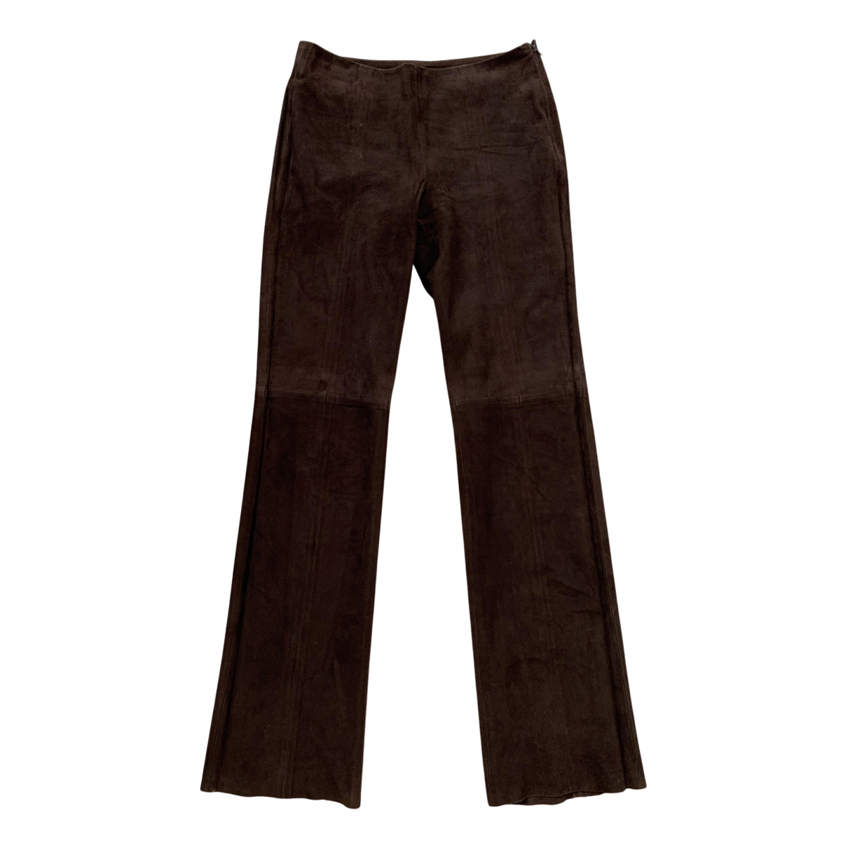Valentino Garavani N Brown Suede Trousers for Women 6 US