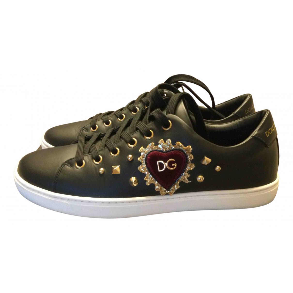 Dolce & Gabbana - Baskets Portofino pour femme en cuir - noir
