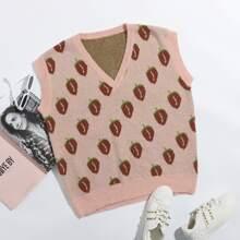 Pullover Weste mit Erdbeere Muster