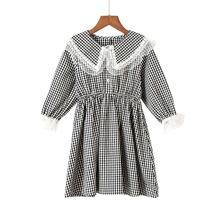 Vestidos para niña pequeña Encaje en contraste Guingan Dulce