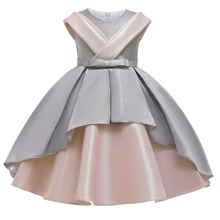 Girls Bow Front Spliced Gown Dress With Cape