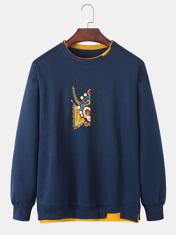 Mens Cartoon Drama Print Patchwork Cotton Crew Neck Pullover Sweatshirt