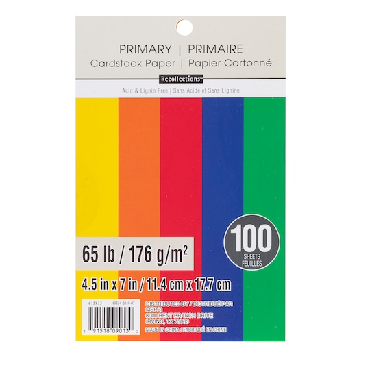 Primary 4.5 X 7 Cardstock Paper By Recollections™, 100 Sheets   Michaels®