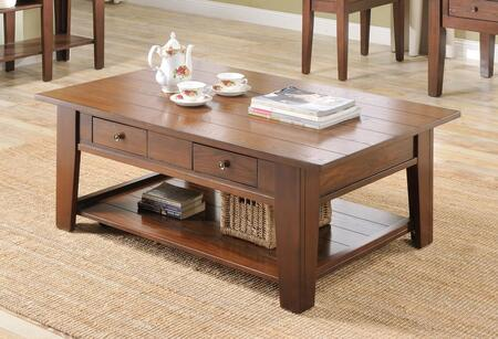 Ezra Collection 5952-CT Coffee Table with 2 Drawers  Bottom Shelf  Solid Hardwood Construction  Oak Veneer and Poplar Material in Cherry