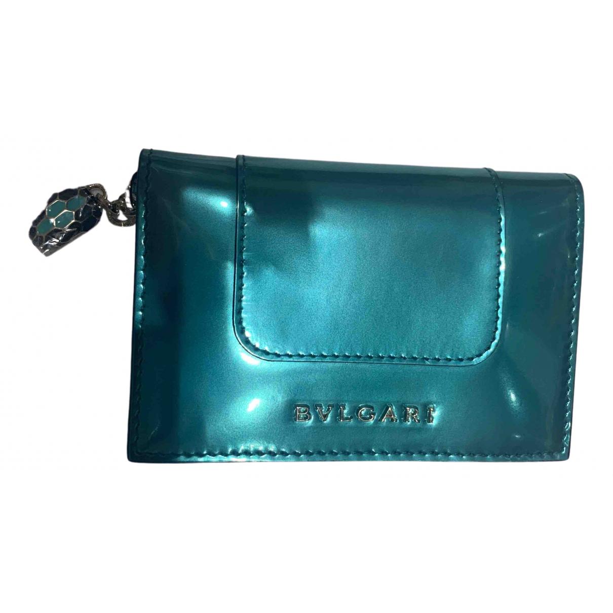 Bvlgari \N Portemonnaie in  Blau Leder