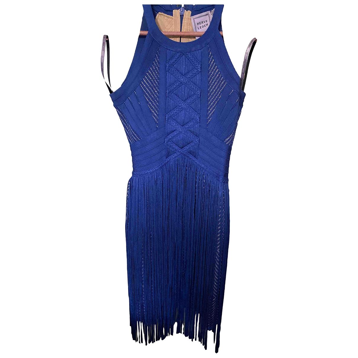 Herve Leger - Robe   pour femme en coton - elasthane - bleu