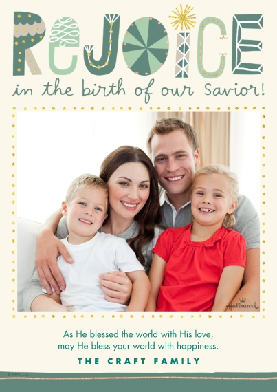 Religious Christmas Cards 5x7 Cards, Premium Cardstock 120lb with Scalloped Corners, Card & Stationery -Rejoice in His Birth