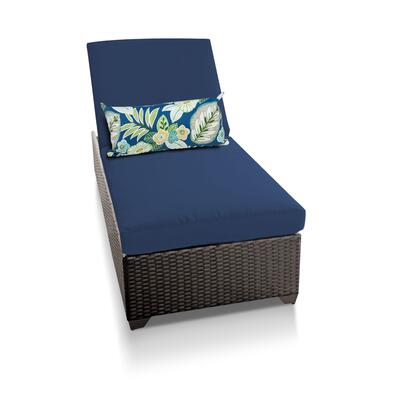CLASSIC-1x-NAVY Classic Chaise Outdoor Wicker Patio Furniture with 2 Covers: Wheat and