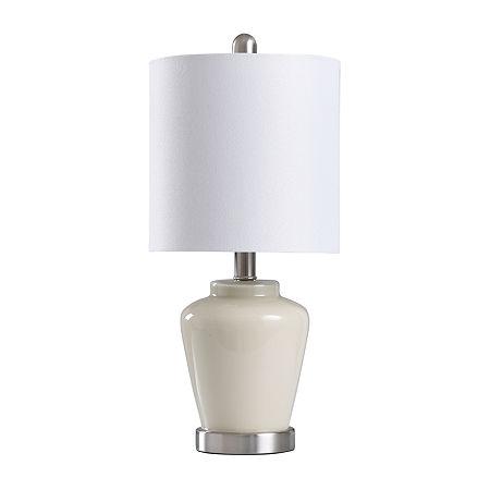 Stylecraft 9 W Cream & Steel Glass Table Lamp, One Size , White
