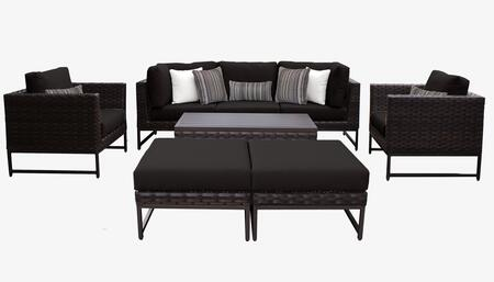 Barcelona BARCELONA-08c-BRN-BLACK 8-Piece Patio Set 08c with 2 Corner Chairs  2 Club Chairs  1 Armless Chair  1 Coffee Table and 2 Ottomans - Beige