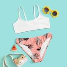 Bañador bikini de niñas de canale con estampado de hoja