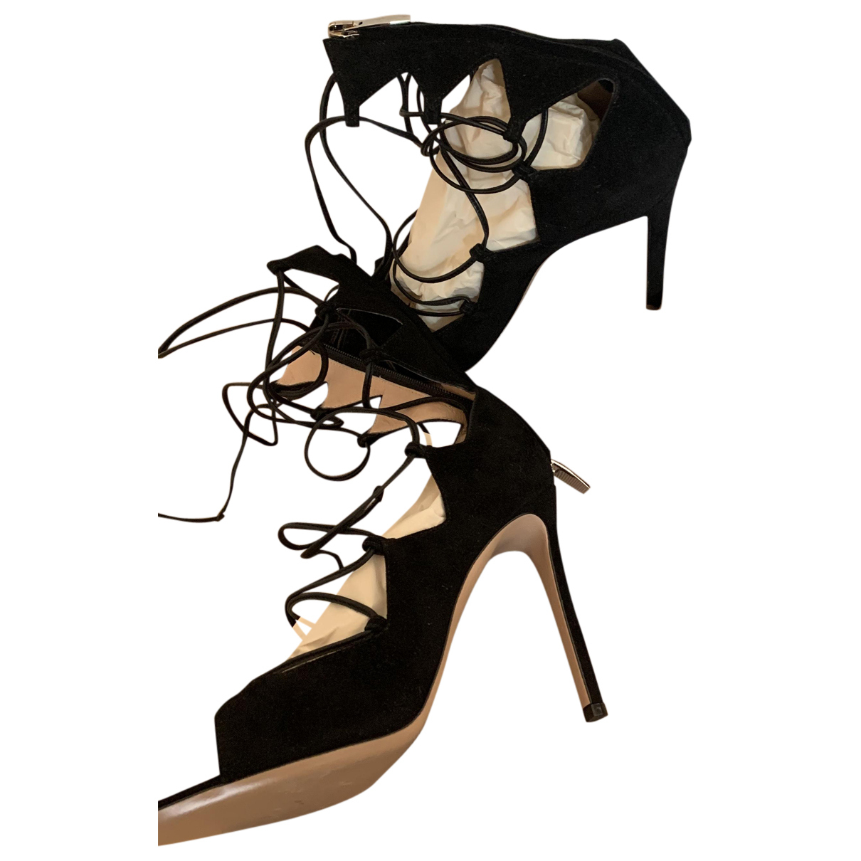 Gianvito Rossi N Black Suede Sandals for Women 37 EU