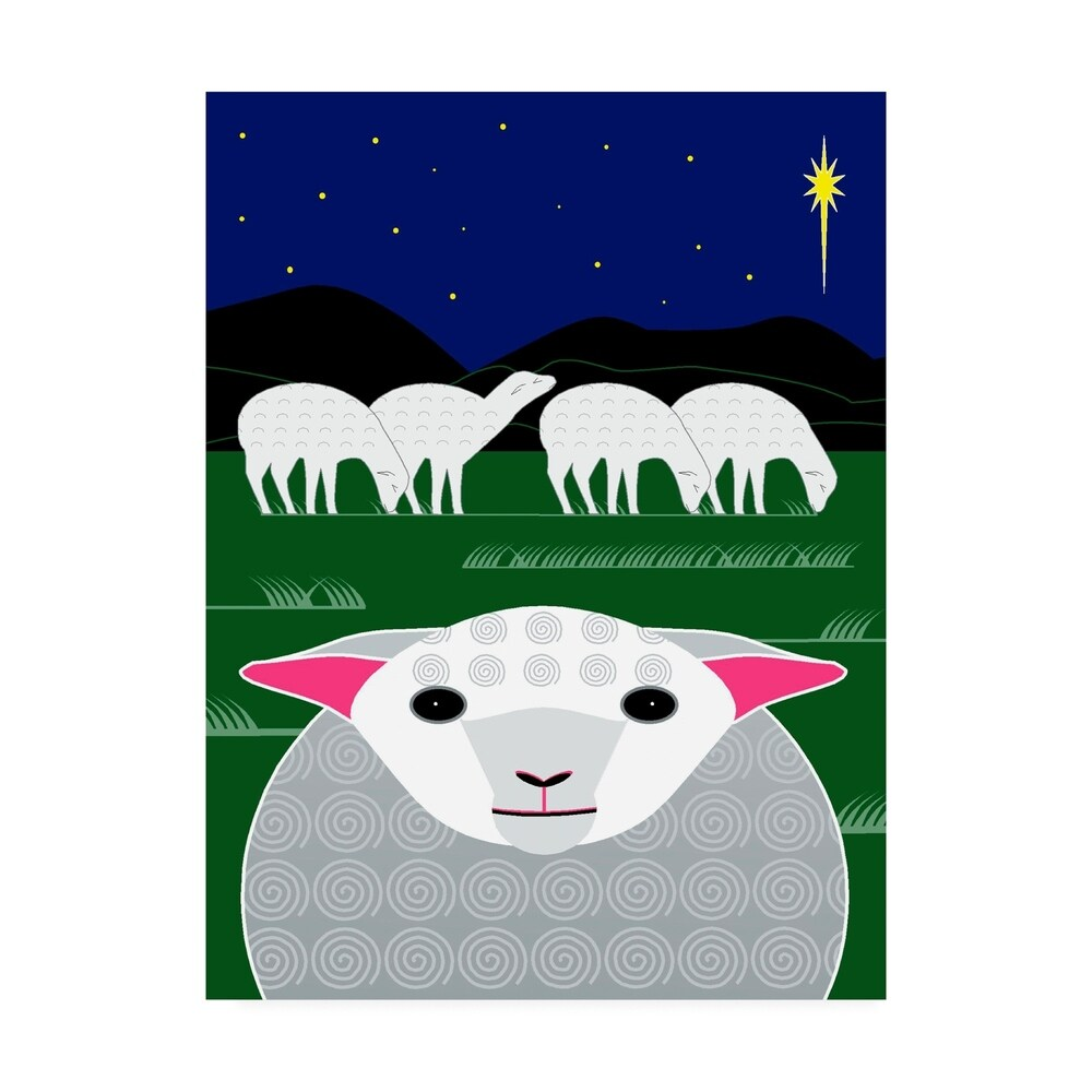 Marie Sansone Vertical Christmas Sheep Canvas Art (24X32)