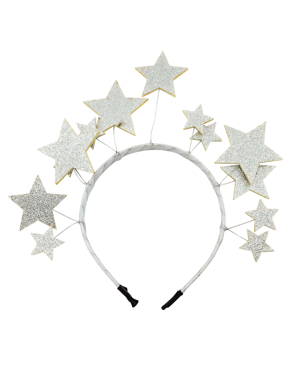 Kostuemzubehor Haarreif mit Sternen silber