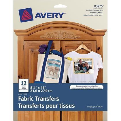 Avery T-Shirt Transfers, use on Light Fabrics, Inkjet Printers, 12 Sheets
