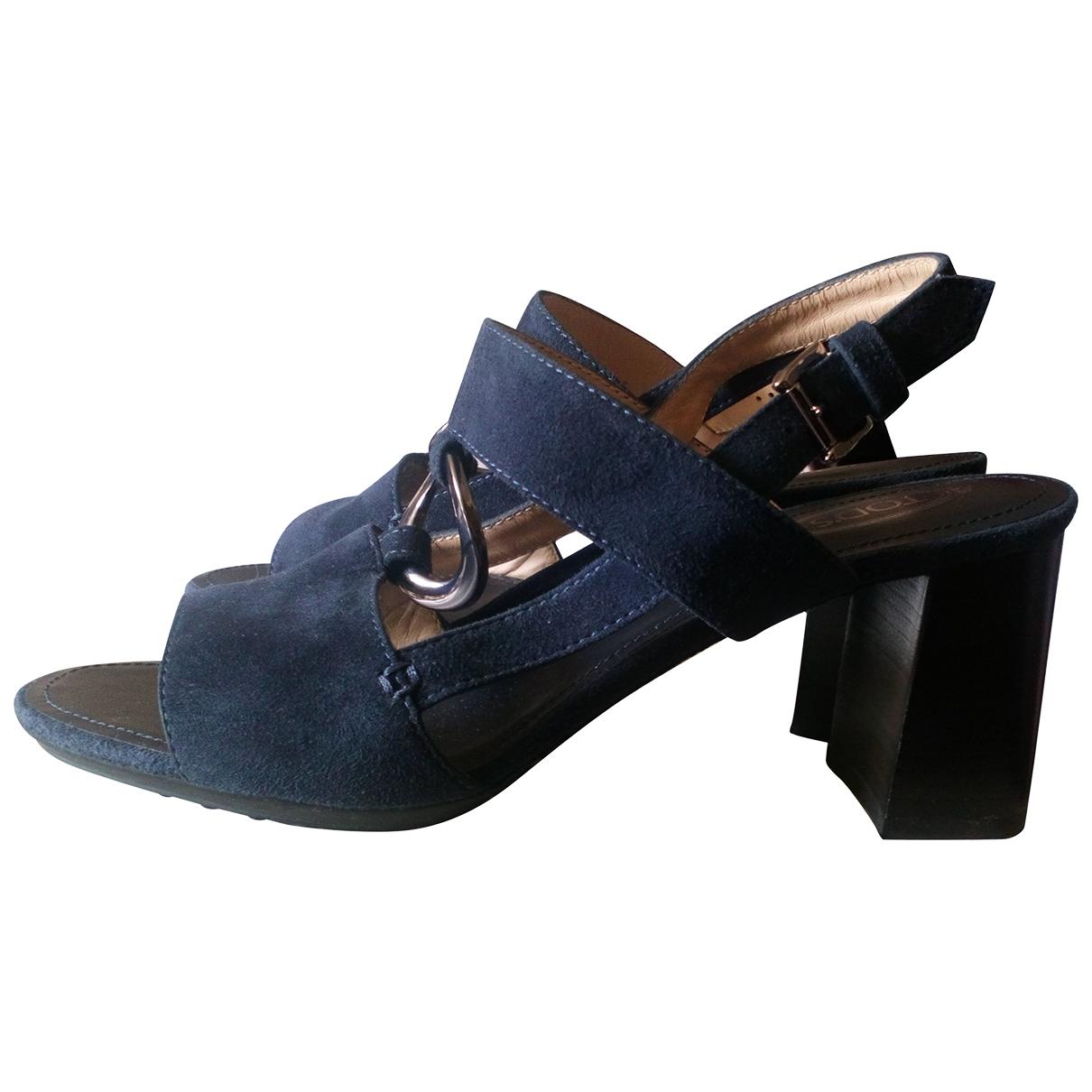Tods \N Sandalen in  Blau Veloursleder