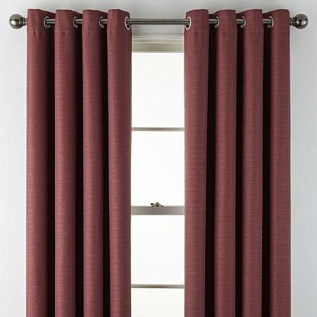 Liz Claiborne Quinn Basketweave Room-Darkening Grommet Top Single Curtain Panel, One Size , Red
