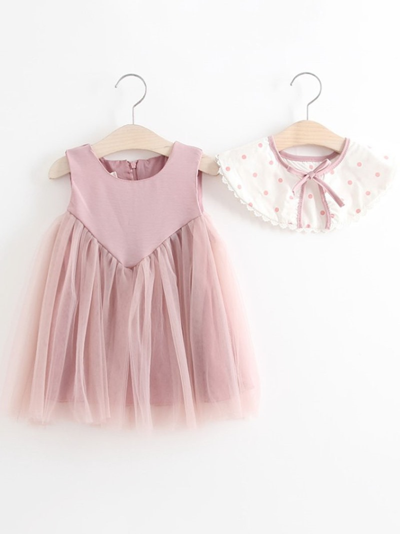 Ericdress Mesh Polka Dots A-Line Sleeveless Baby Girl's Dress