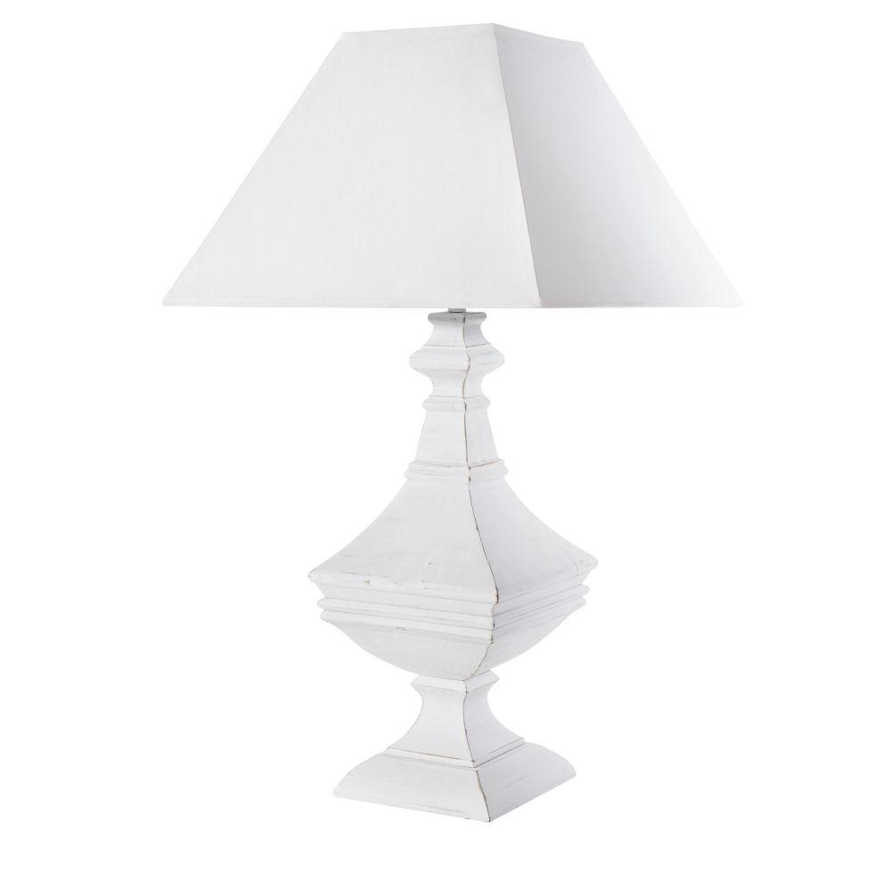 Geschnitzte weisse Lampe mit weissem Lampenschirm