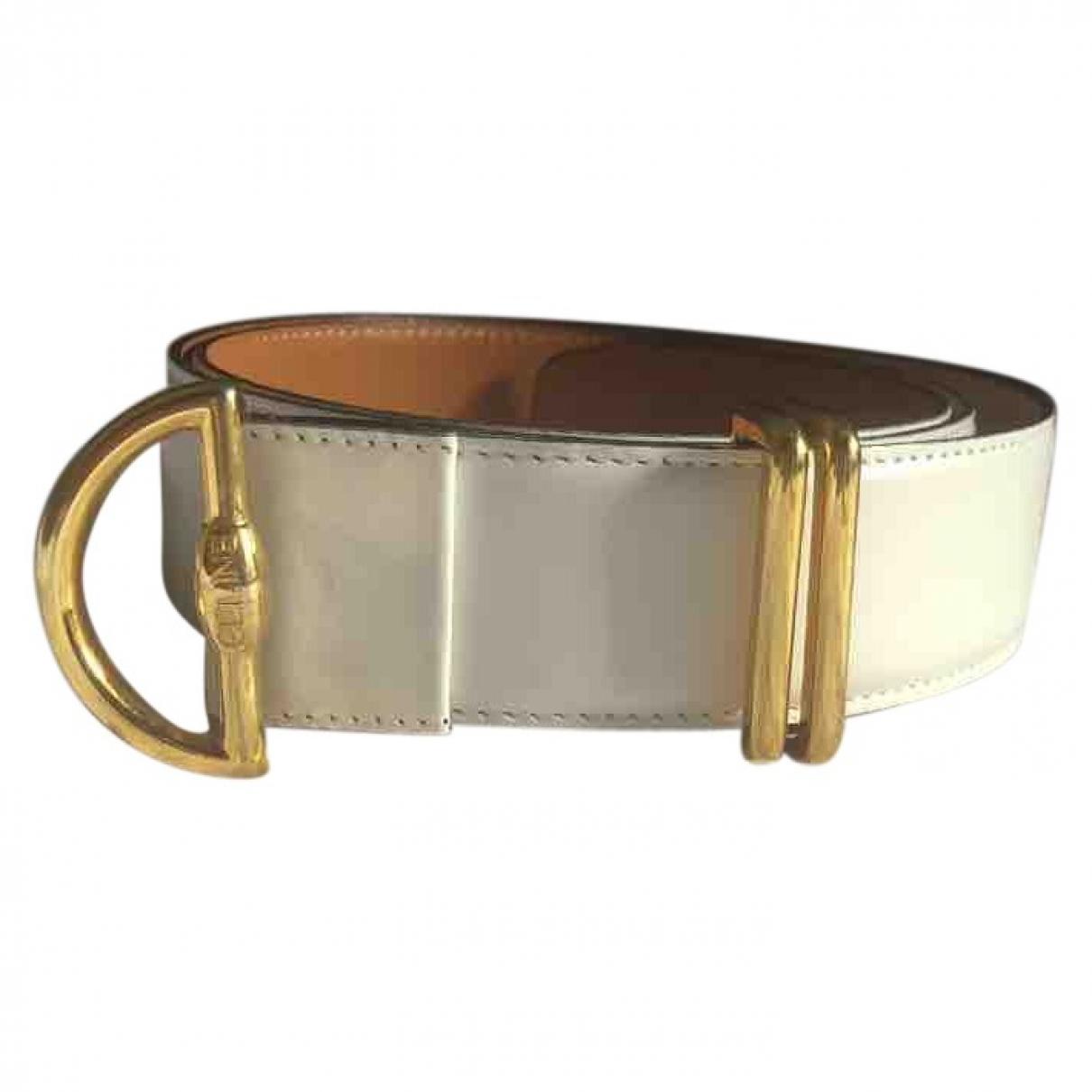 Celine \N White Leather belt for Women 85 cm