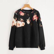 Pullover mit Blumen Einsatz