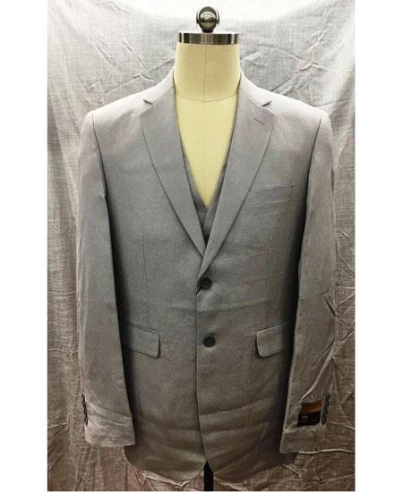 Men's Gray Single Breasted 2 Button Linen Vest Suit