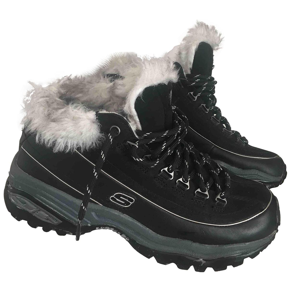 Skechers - A lacets   pour enfant en cuir - noir