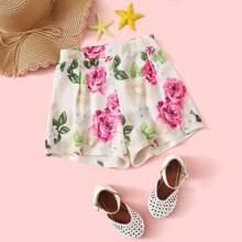 Maedchen Shorts mit Plissee und Blumen Muster