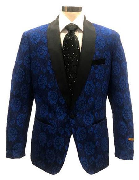 Mens Blue ~ Black Shawl Lapel Blazer