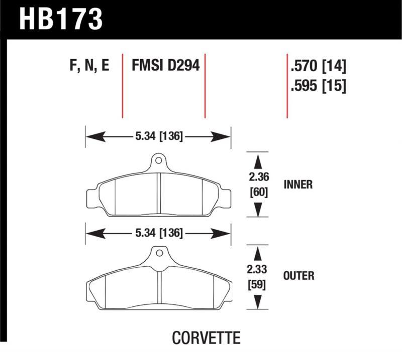 Hawk Performance HB173N.570 Disc Brake Pad Chevrolet Corvette Front 1984-1987