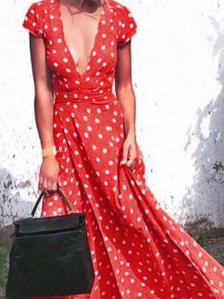 Milanoo Red Maxi Dress Polka Dot Short Sleeve Plunging Neck Vintage Long Warp Dress