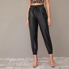 Pantalones PU de cintura con cordon